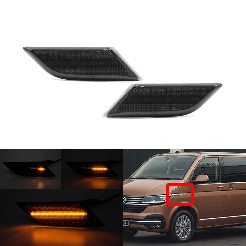 2x подходит для VW Transporter T6.1 2020-Up дымчатые линзы спереди Янтарный светодиодные, боковые, габаритные фонари лампы сигнала поворота