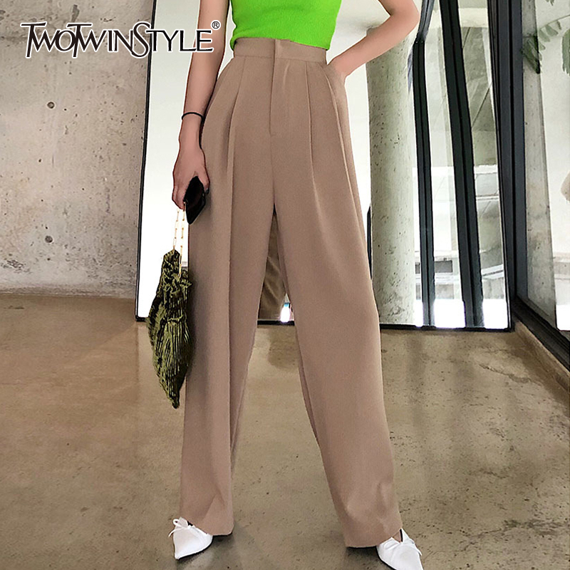 TWOTWINSTYLE Elegant Loose Women Wide Leg Pants High Waist Pocket Long Straight Trouser Female Clothing Fashion 2020 Spring Tide