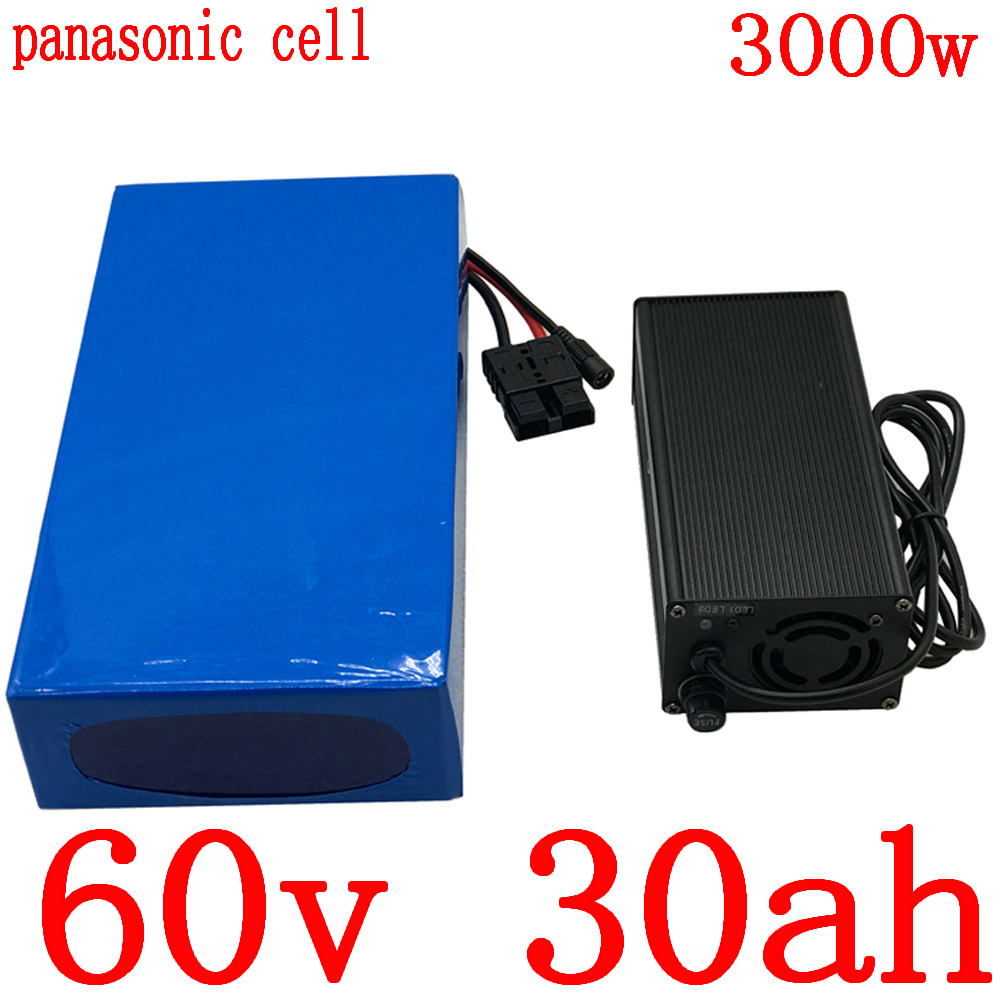 60V 30ah electric bicycle battery 60V 30ah lithium ion battery 60v scooter battery use panasonic cell for 2500W 3000W motor