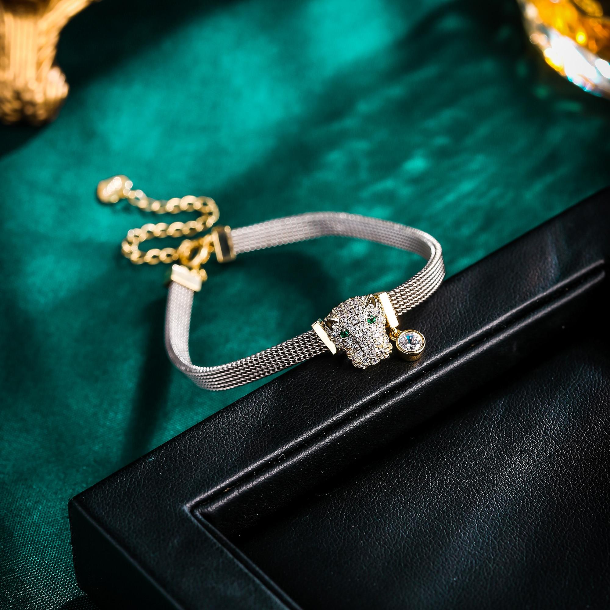 Nouveau panthère léopard Bracelet pour femmes Animal chaîne breloque Bracelet cuivre Zircon Femme fête bijoux cadeau Pulseira Feminina