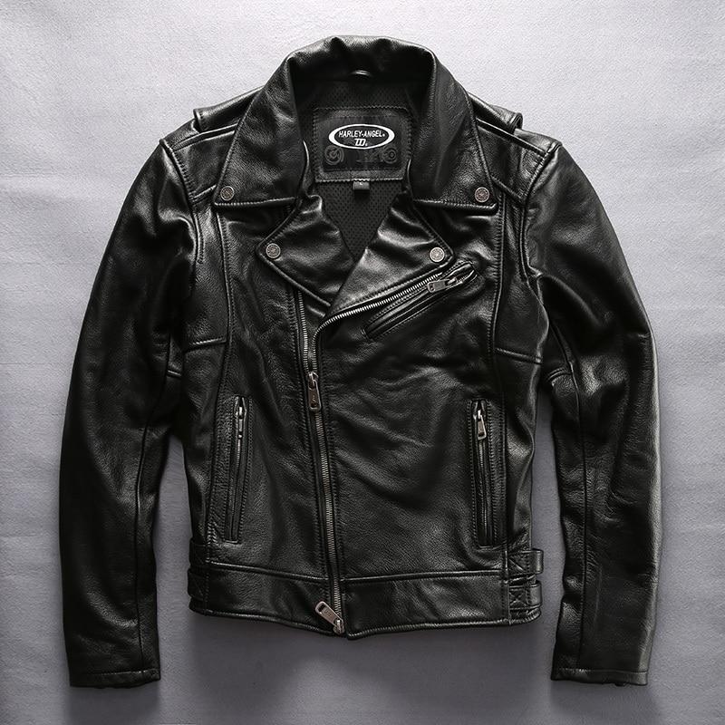 2020 Men's Motorcycle With Pig Pattern Fashion Brand Moto Biker Jacket Men Lapel Genuine Leather Coat Male