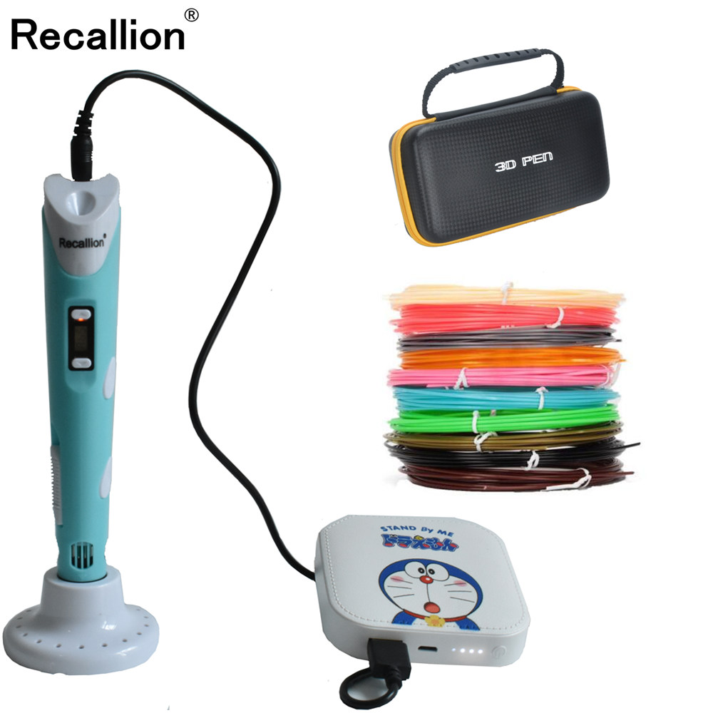 RECALLION <font><b>3D</b></font> <font><b>pen</b></font> support ABS and PLA filament diy drawing <font><b>pen</b></font> with lcd display printing <font><b>pen</b></font> with 5V 2A adapter For Kids Gifts image