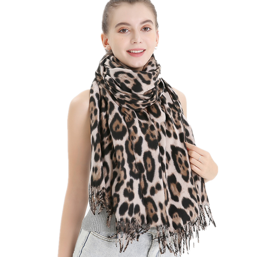 Brand New Winter Thickened Leopard Scarf Women Leopard Dot Fringed Wool Scarves And Wraps Female Warm Imitation Cashmere Shawl