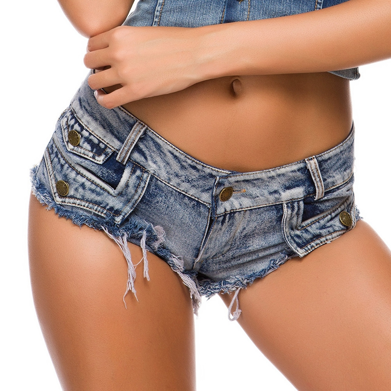 Sexy Denim Shorts Casual Skinny 2020 Cotton Low Waist Fashion Button Pockets Tassel Women Shorts Sexy Holes Jean Shorts Hotpants