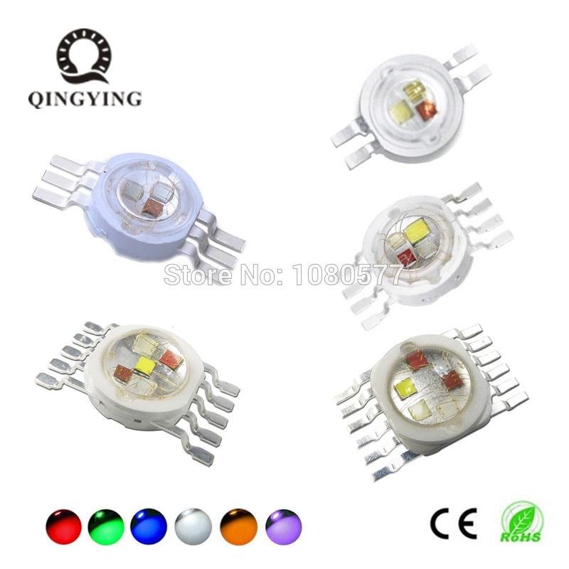 10-50pcs High Power RGB LED RGB RGBW RGBWY RGBWYV 3W 4W 15W 18W Molding LED Stage Lights Source 4 6 8 10 12 Pin