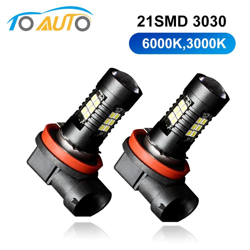 2Pcs H8 H11 Led HB4 9006 HB3 9005 Fog Lights Bulb 3030SMD 1200LM 6000K 3000K Car Driving Running Lamp Auto Led Light 12V