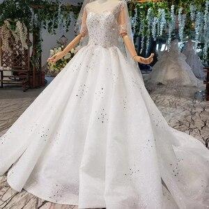 Image 3 - Винтажное свадебное платье HTL966 для невесты, кружевные свадебные платья с коротким рукавом и круглым вырезом, Африканские свадебные платья для женщин 2020 с вуалью, vestido noiva