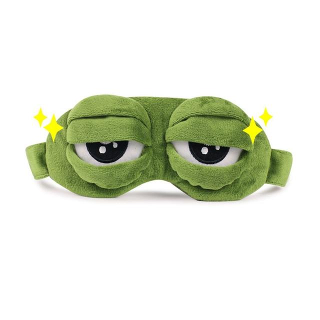 Kids Sleep Mask Cute Sleeping Eye Mask Plush Eye Cover Sleeping Mask 3D Frog Green Eye Band Rest Eyepatch Eye Blindfold 1