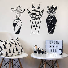 Geometric Cactus Potted Plants Wall Sticker Home Decor Living Room Bedroom Art Murals Decoration Wallpaper