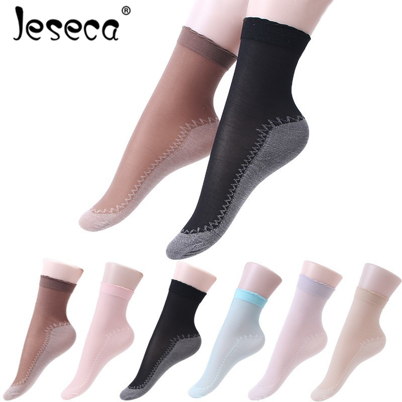 Jeseca New 5 Pairs/Lot Silk Socks Summer Women Soft Casual Non-Slip Cotton Bottom Fashion Transparent Ladies Thin Silk Socks