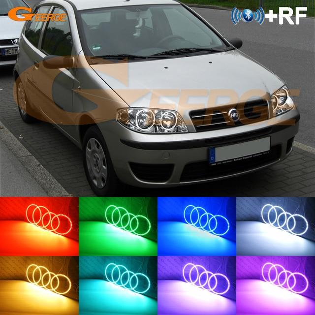 RF remote Bluetooth APP Multi Color Ultra bright RGB LED Angel Eyes kit For FIAT PUNTO 188 Mk2 2003   ON Facelift headlight