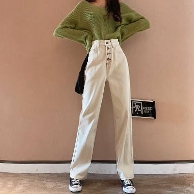 White Wide Leg Jeans Women High Waist Loose Straight Denim Pants Plus Size Vintage Mom Jeans Boyfriend Summer 2020 Jeans Street