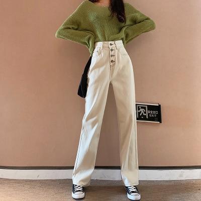 White Wide Leg Jeans Women High Waist Loose Straight Denim Pants Plus Size Vintage Mom Jeans Boyfriend Summer 2020 Jeans Street