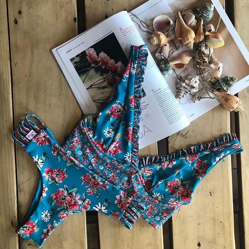 Floral Ruffled Hem Bikini Set Women Flora V-neck High-waisted Two Piece Swimsuit 2019 Girl Beach Bathing Suit Swimwear Biquinis