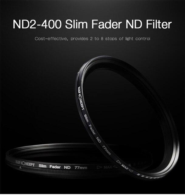 Dynamic ND2-400 Filter 52MM 58MM 62MM 67MM 72MM 77MM Slim Fader Variable ND Lens Filter Adjustable ND2 to ND400 Neutral Density 10