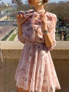 Simplee Office Lady Dress Work-Wear Spring Half-Sleeve Elegant Summer Chic High-Waist