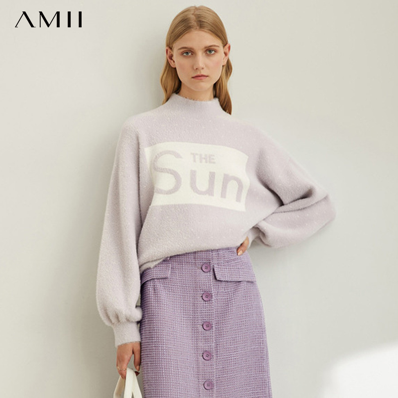 Amii Simple Slouchy Pullover Women's New Loose Half High Collar Color Blocking Letter T-shirt In Autumn 11970410