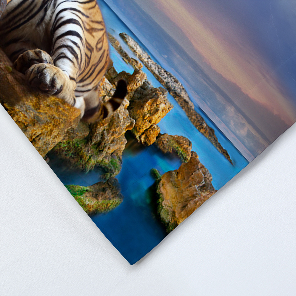 Tiger Bedding Set 3D Print Duvet Cover with Pillowcase Blue Ocean Nature View Bed linen Twin Full Queen King Size Bedclothes 3pc in Bedding Sets from Home Garden