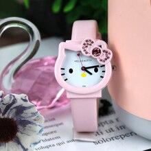 2020 new cute cartoon KT cat children's watches leather strap kids