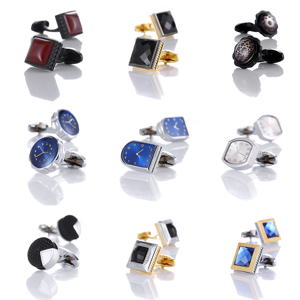 New Blue Black Cufflinks For Mens Brand High Quality Crystal For Wedding Party Fashion Simple Men Sleeve Shirt Cufflinks