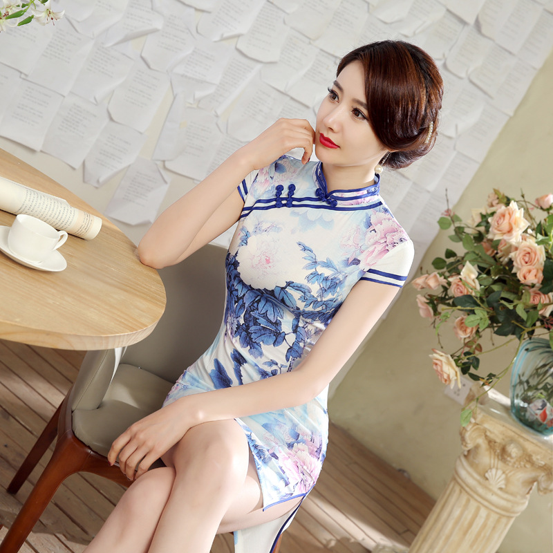 Sky Blue New Style Ethnic-Style WOMEN'S Dress Cheongsam Elasticity Bamboo Joint Cotton Nylon Floral Printed Dress Cotton Linen L