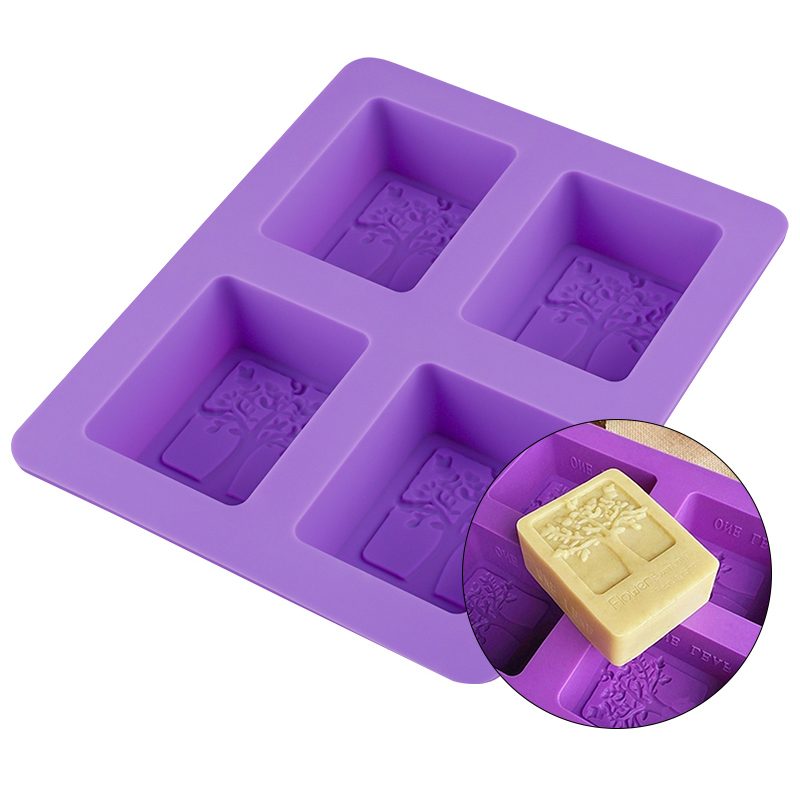4 Cavity 3D Life Tree Silicone Soap Mold DIY Handmade Soap Making Mould Rectangle Soap Forms