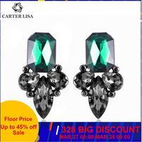 CARTER LISA exquis grand cristal Pendientes Duzzling strass fleur boucles d'oreilles pour les femmes mode bijoux cadeau de fête