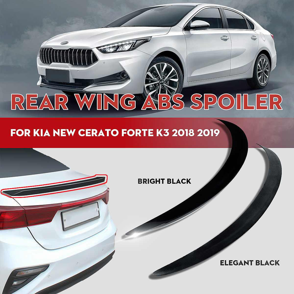 ABS ด้านหลังสปอยเลอร์ปีก GUARD Matte Bright สีดำสำหรับ Kia Cerato Forte กีฬา GT 2018 2019