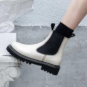 Image 5 - Krazing Pot Chelsea boots British school genuine leather round toe med heels winter women leisure mixed colors ankle boots L17