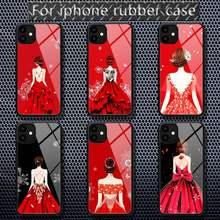 Coque de téléphone en caoutchouc pour robe de mariée, étui de luxe rouge pour iPhone 12 11 Pro Max XS 8 7 6 6S Plus X 5s SE 2020 XR 12 Mini