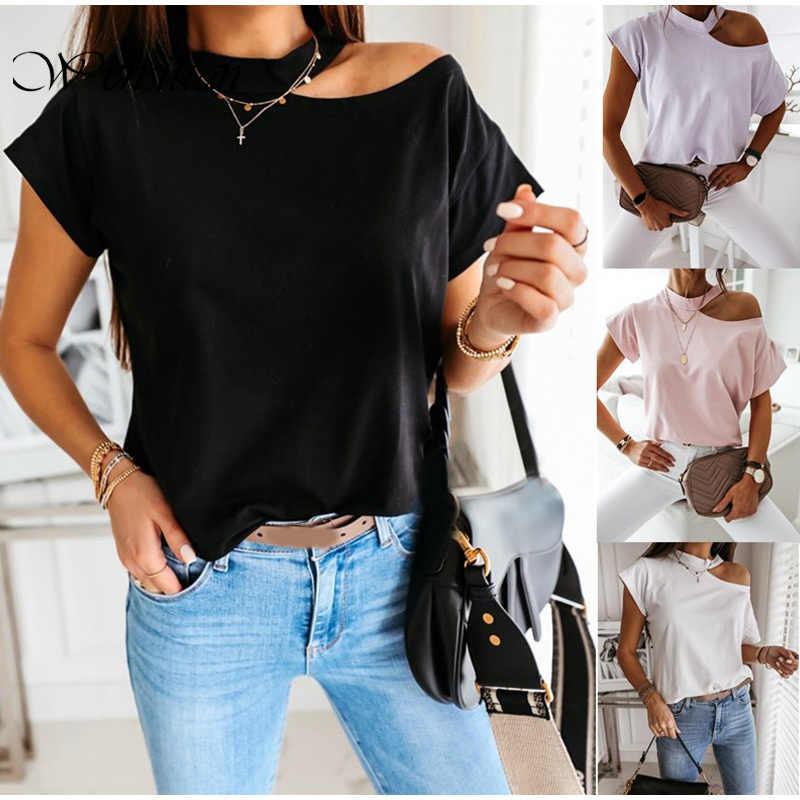 Off Schulter T-shirt Frauen Tops und T-shirts Kurzarm Weiß Shirts Sommer Damen T-shirts Fashion Casual T-shirts Lose Tops 2020