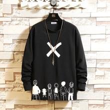 Autumn Spring Black White Tshirt Top Tees 2021 Style Brand Fashion Clothes OverSized M-5XL O NECK Long Sleeve  Men'S T Shirt
