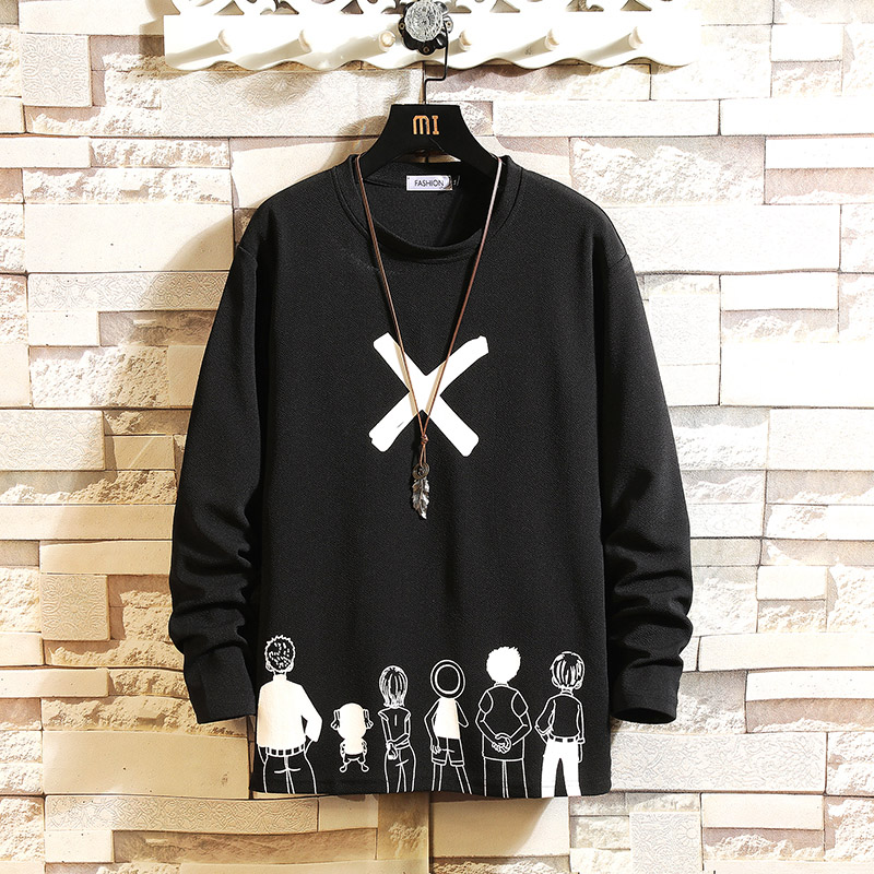 Autumn Spring Black White Tshirt Top Tees Classic Style Brand Fashion Clothes OverSize M-5XL O NECK Long Sleeve T Shirt Men'S(China)