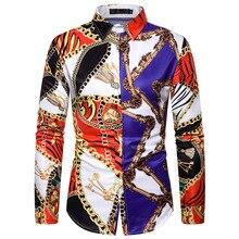 בציר יוקרה הבארוק Mens כפתור למטה שמלת חולצת טוקסידו חולצות 2020 אופנה שלב Streetwear להראות חולצה גברים Camisa Masculinaחולצות קזואל