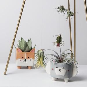 Суккуленты цветочный горшок керамический геометрический маленький животный домашний сад кактус плантатор мини корги кролик овец Ежик растение цветочный горшок