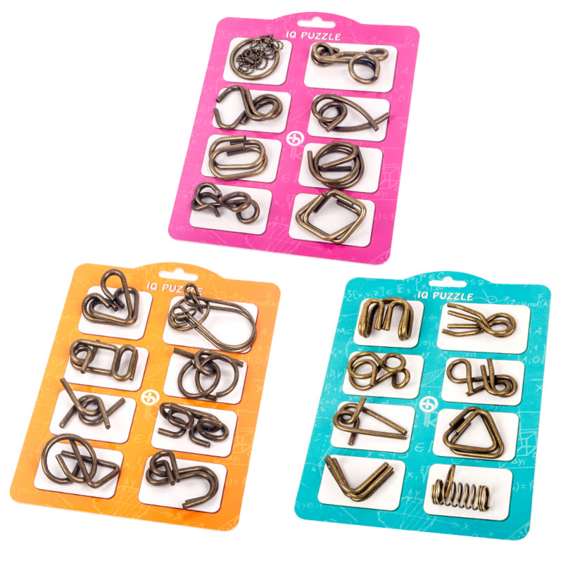 8Pcs/Set Metal Montessori Puzzle Wire IQ Mind Brain Teaser Puzzles Children Adults Interactive Game Reliever Educational Toys 3