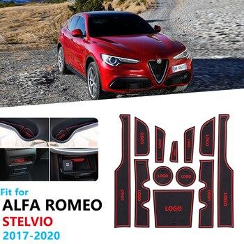 Alfombrilla de goma antideslizante para puerta de coche, accesorios adhesivos para Alfa...