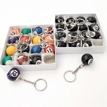 16pcs Mini Billiards Shaped Keyring 25mm Resin Billiard Ball Key Chain Black 8