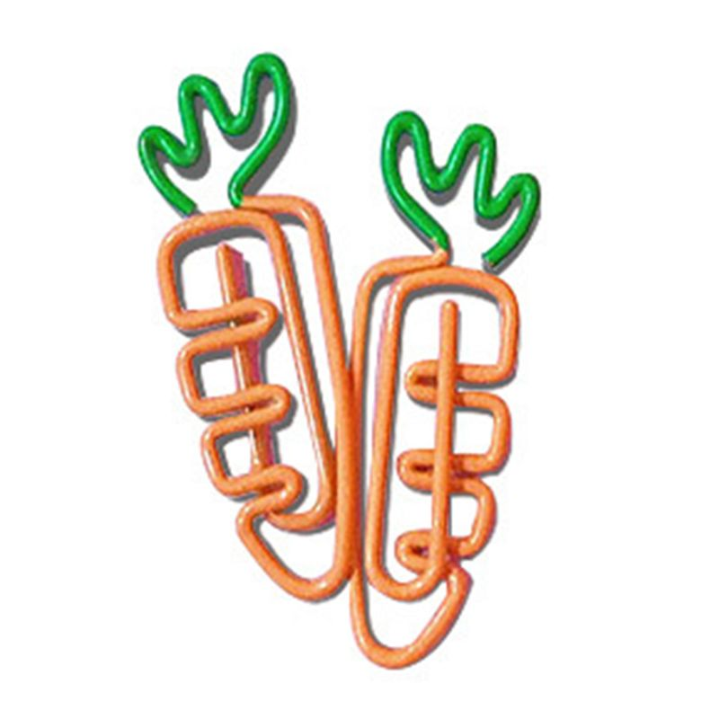 Cartoon Vegetable Radish Carrot Shaped Paper Clip Bright Colors Photo Clip Bookmark DIY Handmade Decor School Stationery H7EC