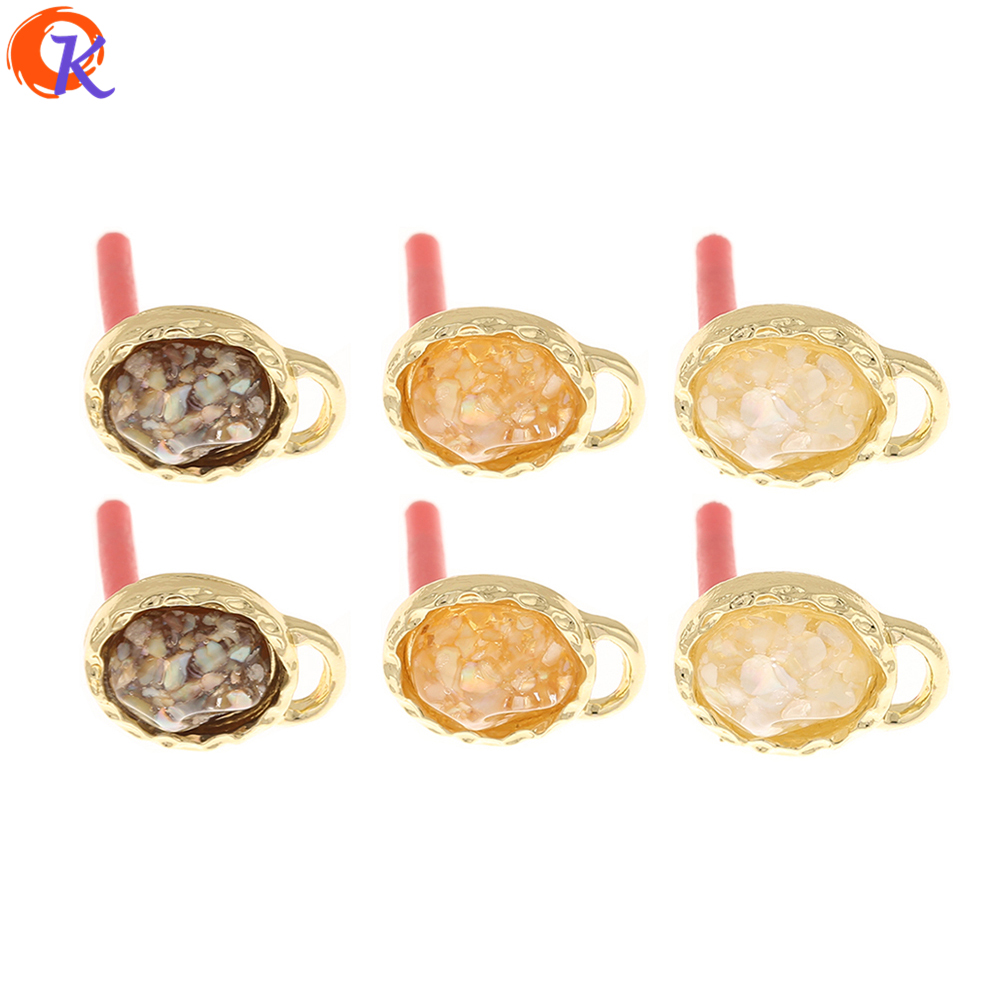Cordial Design 100Pcs 11*16MM Jewelry Accessories/Hand Made/Earring Findings/Oval Shape/Shell Effect/DIY Making/Earrings Stud