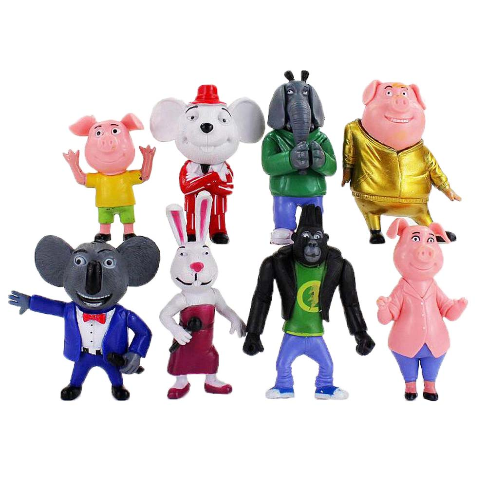 7-10cm 8 pçs/lote cantar figura brinquedo buster koala johnny rossi minna mike porco coelho elefante rato orangotango animais modelo boneca