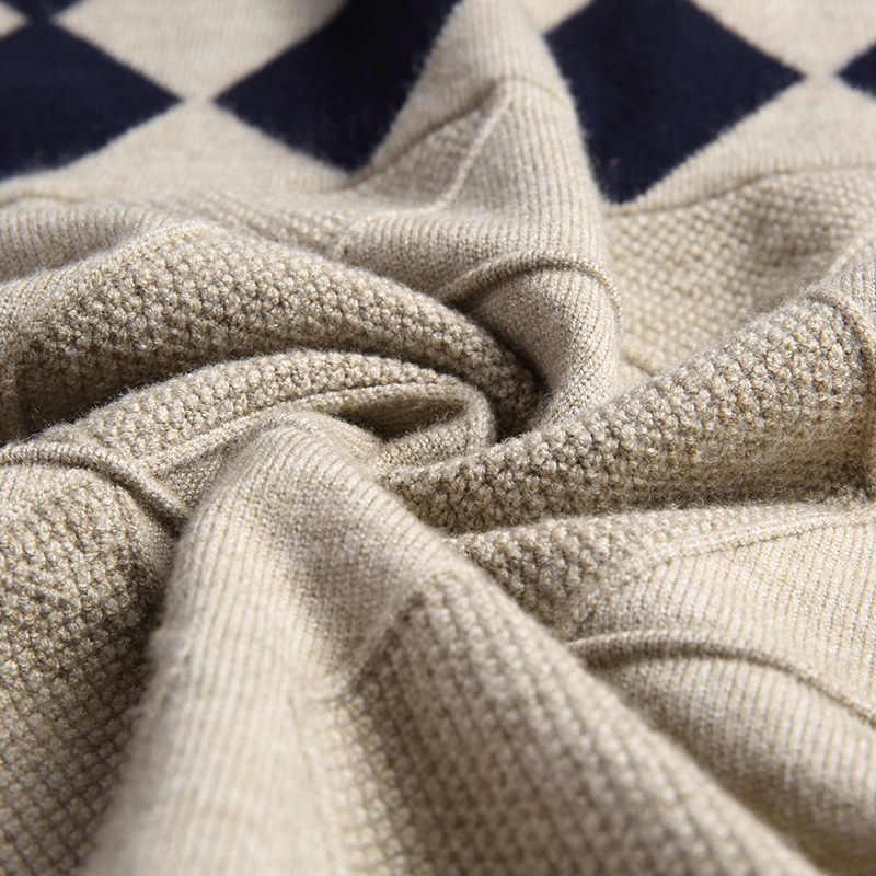 Herfst Winter Nieuwe Mannen Trui Mode O-hals Patchwork Katoen Trui Trui Mannen Slim Fit Lange Mouw Gebreide Heren Truien