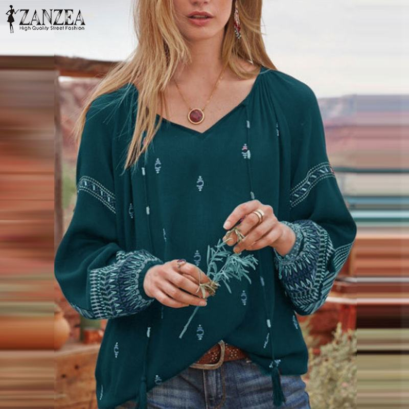 ZANZEA Bohemian Tops Women Autumn V Neck Floral Printed Blouse Long Sleeve Shirt Femininas Blusas Casual Vintage Chemise Mujer