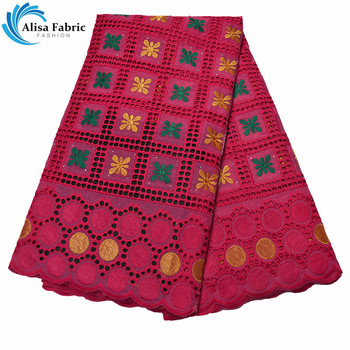 Alisa Nigerian Lace Fabric With Embroidery 100%  Cotton Lace African Lace Fabrics With Stones 5 Yards/pcs For DIY Apparel Sewing