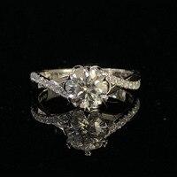 White Gold Plated silver ring 1ct Moissanite ring Flower shape romantic Trendy Anniversary lab Diamond Ring For Women