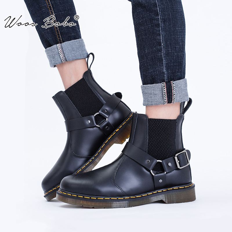 Women Boots Buckl Silver Big-Size Genuine-Leather 34-48 Sewing Ankle Belt