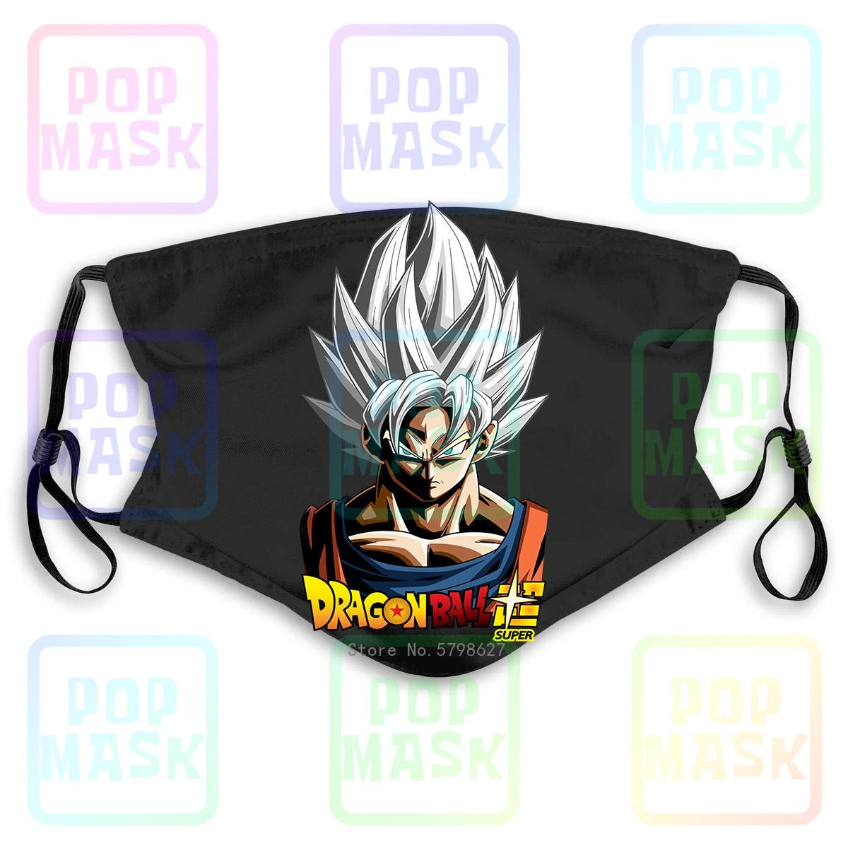 Dragon Ball Super Goku Ultra Instinct Saiyan Washable Reusable Mask With 2Pcs PM2.5 Filters 5 Layers