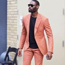 Мужской классический оранжевый костюм, костюм из двух предметов(одежда+ штаны) на заказ, новое платье с подолом, укороченным спереди, тонкий танцевальный костюм, костюм из 3 предметов