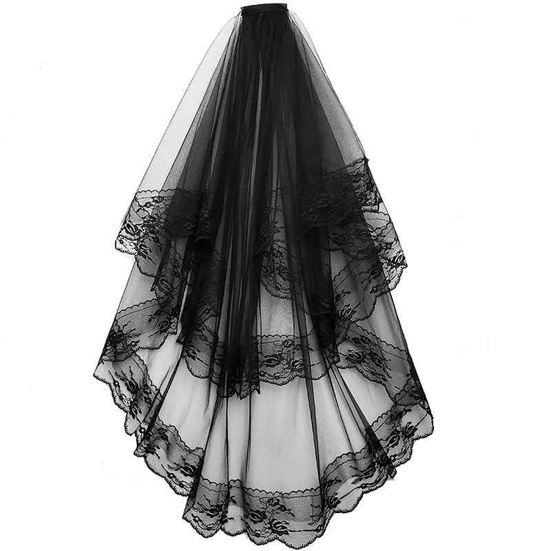 Wedding Veils 2/One Layer ลูกไม้สั้นผ้าคลุมหน้าเจ้าสาวด้วยหวีสีดำสีขาวสำหรับเจ้าสาวชุดแต่งงานอุปกรณ์เสริมผม