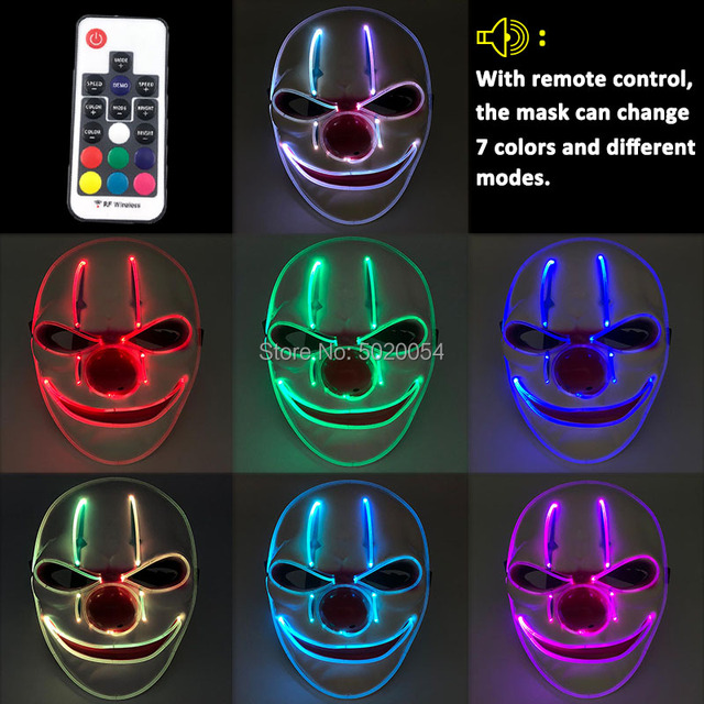Night Glow Plastic Optical Fiber LED Face Mask Novelty Anime Cosplay Costumes DIY Kpop Accessories powered by remote control 2